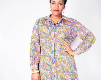 Vintage 70's Sheer DITZY FLORAL PRINT Day Garden Party Shirt Dress // Vintage Plus Size Dress (sz 1X 14 16)