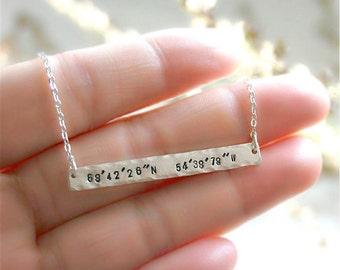 Coordinate necklace, Latitude Longitude, Custom Coordinates Bar Necklace, Location Necklace, Number Necklace, Birthday Gift