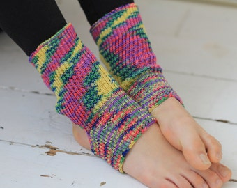 Yoga/Dancer's legwarmers  hand cranked and finished  PINK GREEN YELLOW Short socks with open heel one size fits all Cotton Viscose blend