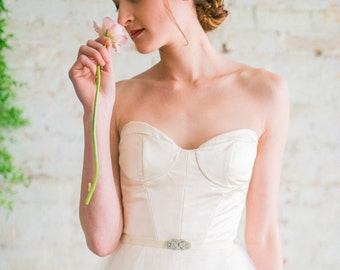 Fit And Flare Wedding Dress, Silk Ball Gown Wedding Dress, Ivory Silk Satin Handmade Wedding Gown, Modern Tulle Wedding Dress - Agathé Gown