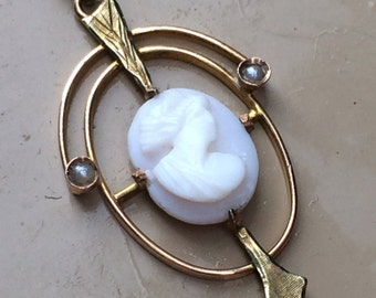 Elegant Edwardian angel skin cameo and seed pearl pendant/lavaliere in 10k gold.