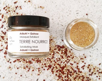 TERRE NOURRICE Facial Mask. 100% Natural. Vegan.Gentle Exfoliation Mask. Quinoa+Adzuki+Rose Petal.