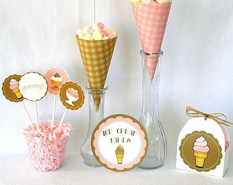 Crème glacée Social Printable Party Pack Kit Instant Download