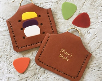 Tan Plectrum holder keyring- Personalized Gift - Gifts for musicians - personalised leather key ring