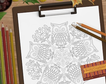 Parliament of Owls Coloring Page OrnaMENTALs #0014 PDF