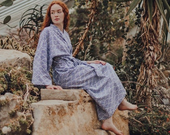 Kimono Robe - 100% Organic Light Cotton - Hand Printed Cotton Dressing Gown for Women - Blue Cotton Yukata - All cotton Bathrobe - Long Robe