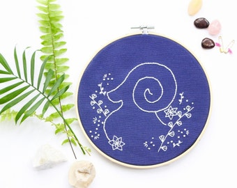 Modern Embroidery Kit For Beginner, Zodiac Embroidery Kit, Aries Art, Christmes Gift