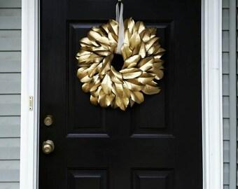 Gold Holiday Wreath/ Gold Magnolia Wreath/ Magnolia Wreath/ Gold Christmas Wreath/ Christmas Wreath/ Gold Home Decor/Gold Wreath/