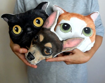 Custom Pet Portrait Plush Pillow, Personalized pet pillows, cat pillow, dog pillow, gift for pet lovers, pet gifts