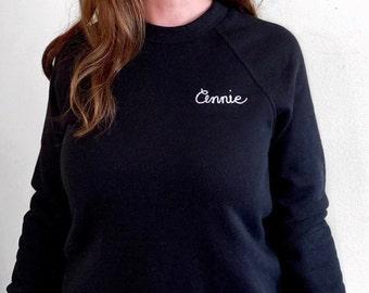 Personalized Chainstitch Sweatshirt. Embroidered monogram. Adult Sweatshirt. Cursive Word Sweatshirt. Custom Word Unisex Sweatshirt
