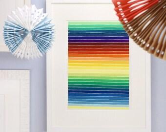 Stripes & colours Watercolour drawing
