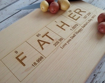 Father's Day gift,  Custom Engraved Cutting Board, Barbecue board, dad, father, Dad gift, BBQ cutting board, periodic table cutting board