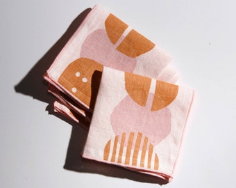 Blush Linen Block Printed Cocktail Napkins - This set of cocktail napkins is perfect for any cocktail party or as the perfect hostess gift.
