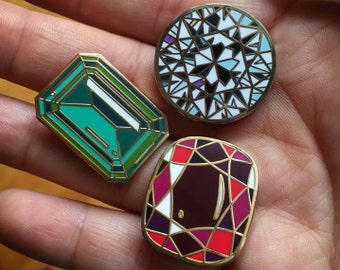 Set of *3* enamel gemstones pins