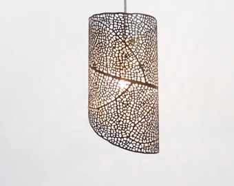 "Pendant Lamp 'Filigrana Nº1' size Small (height 41cm / 16""), leaf pattern projecting light, laser-cut in durable, eco-friendly HPL"