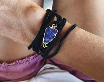 Suede bracelet - druzy bracelet - bohemian bracelet - leather wrap - druzy wrap bracelet - druzy leather bracelet - coachella bracelet