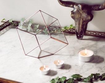 Glass terrarium - Cube planter - Valentin's Day - Stained glass - Silver - Copper - Cactus lovers - Mini garden - Indoor gardening.