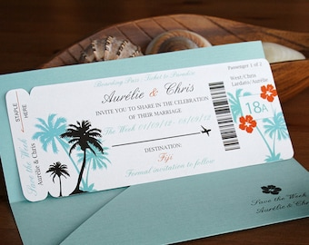 Boarding Pass Invitation - Save the Date - Destination Wedding Invitation SAMPLE Invite - Tropical Wedding invitation - Overseas Wedding