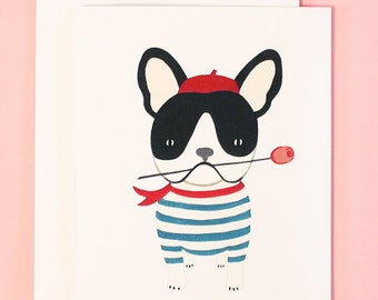 French Bulldog Valentine's Day Card | French Bulldog Greeting Card