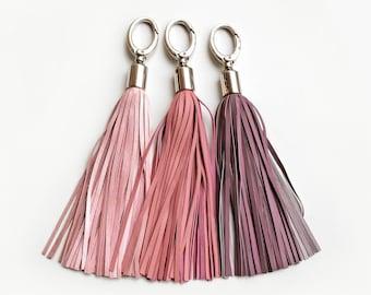 Leder-Quaste, leicht rosa und lila lange Quaste Schlüsselanhänger