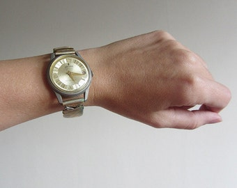Vintage wrist watch, retro swiss wind-up men's watch, mechanical, gold tone, vintage accessories NOT WORKING. Retro bracelet for him or her.