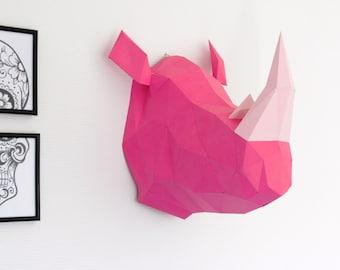 Papercraft RHINOCEROS Head Trophy. Rhino Faux Taxidermy DIY KIT, Animal Trophy made on paper, handmade Sculpture.