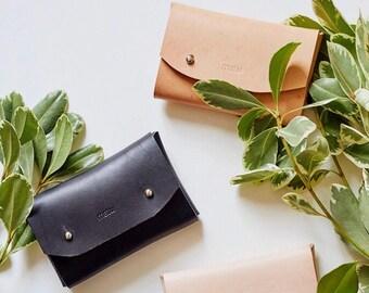 FITZ : Minimalist Black Leather Card Case - Cardholder - Simple Wallet - Holds 14 Business Cards - Gift for Him, Matte Black Leather