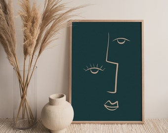 Painted Face Wall Art - Downloadable Printable Art - Modern Art, Abstract Art, Mid-Century Art, Contemporary Art, Earthy, Neutral, Line Art