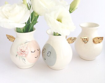 Personalized Vase - Personalized Gift - Ceramic Vase - Ceramics and Pottery - Vase with Gold Wings - Ceramic