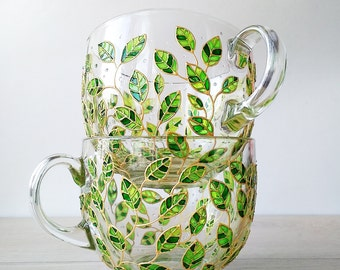 Floral big green mug nature lover gift, green leaves glass mug, 17 oz gardening mug, painted glass coffee mug