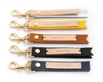 Yellow leather custom made keyring, Personalized keychain, Customized keyring, Anniversary gift, Personalized gift, Wedding favors, bag tag