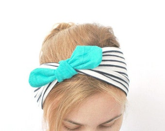 nautical dolly bow headband turban jersey fabric wrap knotted pin up head band summer beach head wrap covering workout band