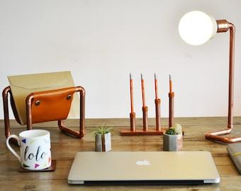 Copper pen holder, Pencil holder, copper and leather, Pencil pot, Desk organizer, pen stand, Copper pipe, 3rd wedding anniversary, for men
