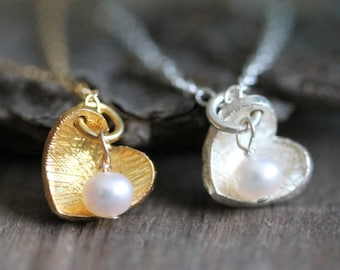 Gold Heart Necklace, Wedding Jewelry for Bride, Valentines Day Gift