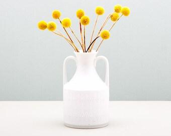 White Op-Art Porcelain Vase Royal KPM, Bisque Vase, Double Handled Vase, White Amphora, Op Art Handmade Vase, White Mid Century Modern Vase