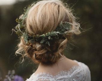 Wedding Headpiece with Ferns and Greenery. Greenery Vine Hair Comb. Fern Crown.