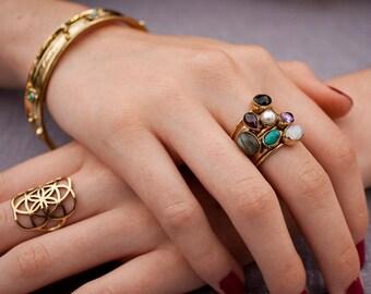 Stacking Rings, Gemstones Rings, Moonstone Rings, Statement Rings, Birthstone Rings, Boho Rings, Stack Rings for Women,Turquoise Rings JR082