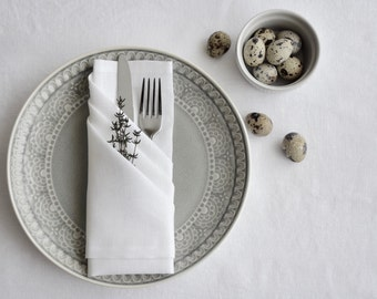 "Linen napkins- white color napkins -set of 6- size 18""x18""- wedding napkins- entertainment table decor- Easter table linens"