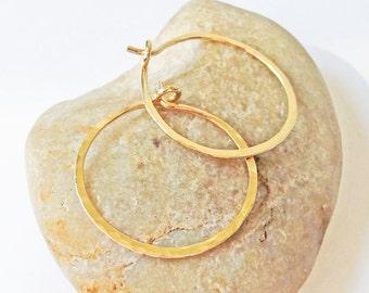 14K Gold Filled 18 Gauge Hoops, Hammered Gold Hoop Earrings, One Inch Hoops, Handmade Hoops, Gift for Her