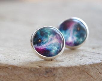 Galaxy Space Stud Earrings Rainbow Bleu Galaxy jewelry Nebula Stardust Earring Anniversary  gift for her Minimalist jewelry