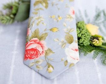 Floral tie, grey skinny tie, coral pink floral tie, mens skinny tie, wedding tie, men's floral tie