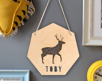 Personalised Geometric Stag Sign - Woodland Stag - Page Boy Gift - Wooden Baby Room Decor
