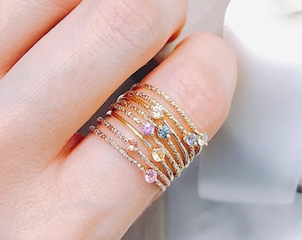 14k 18k Gold Sapphire Colorful Thin Ring - Rose Gold Natural Diamonds Gold Jewelry - Stacking Ring Gift R022