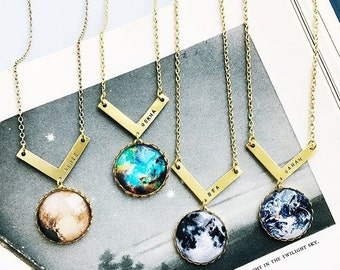 Personalised Nebula, Pluto, Moon & Earth Necklaces