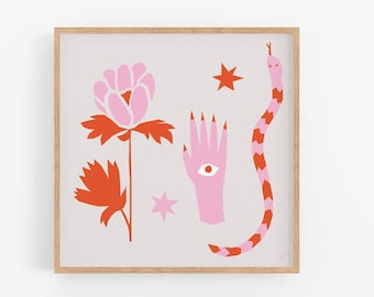 """Mystic Scene in Pink and Red 
