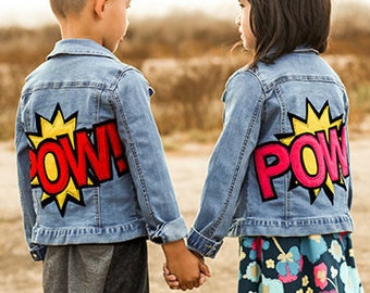 Red POW Patchwork Denim/Jean Jacket - Kids/Children/Boys/Girls Unisex