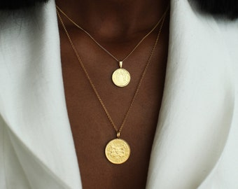 THE DOUBLE Up Coin Necklace Stack in Gold Vermeil