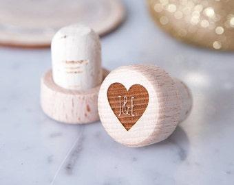 Personalised Heart Wine Bottle Stopper -  Wooden Wine Stopper - Personalised Stopper - Wedding Favour - Wine Lover Gift - Wedding Favours