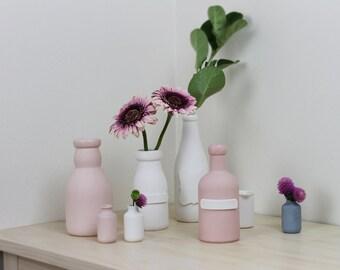 Archive Bottle in Pink Porcelain - ceramic - pottery - vase