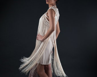 20.CRESSIDA DRESS-Cream white macrame fringe Dress/shoulder necklace/ fringe top/ tasselled body jewelry burning man luxury festival costume